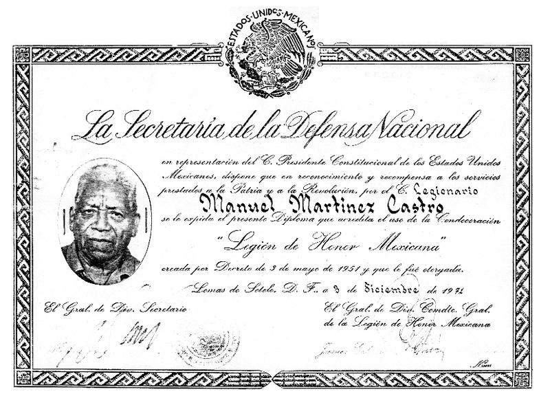 Diploma que acredita el uso de la Condecoración Legión de Honor Mexicana.pdf