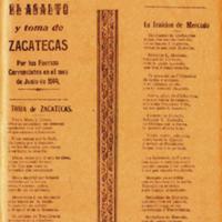 Dos triunfos de la Revolución : el asalto y toma de Zacatecas por las fuerzas carrancistas en el mes de junio de 1914, toma de Zacatecas. La traición de Mercado